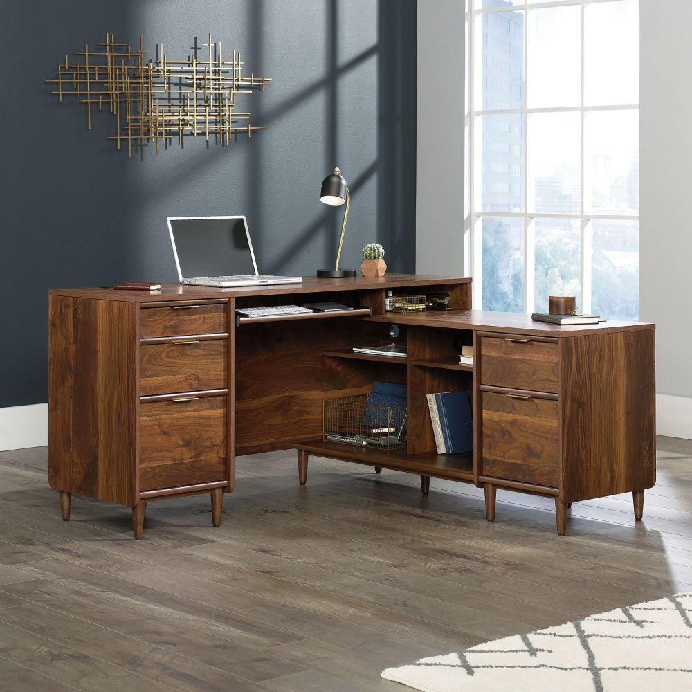 TEKNIK CLIFTON PLACE L-Shaped Desk With Grand Walnut Finish Effect